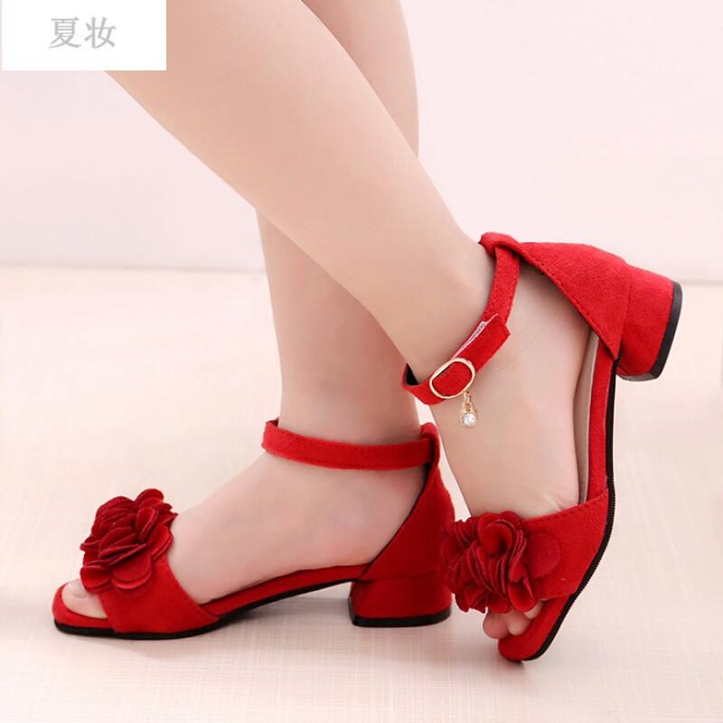 夏妆童鞋女童凉鞋新款夏季韩版高跟鱼嘴儿童公主鞋小女孩中大童潮