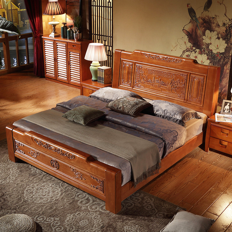 8m1.5米 仿红木床主卧室家具 1.8*2.0m箱框床 床垫 床头柜*2