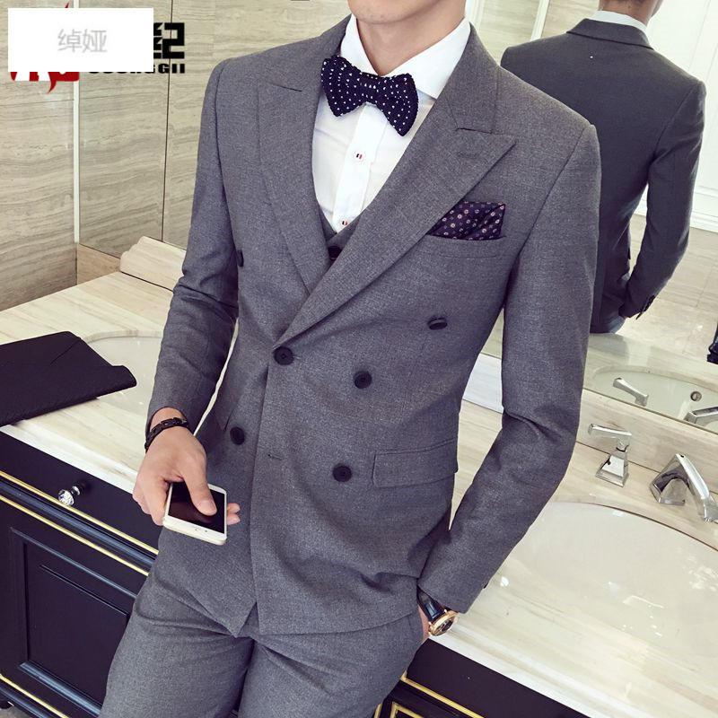 绰娅ccorggii2017新款韩版双排扣西服男士平驳领西装三件套西装