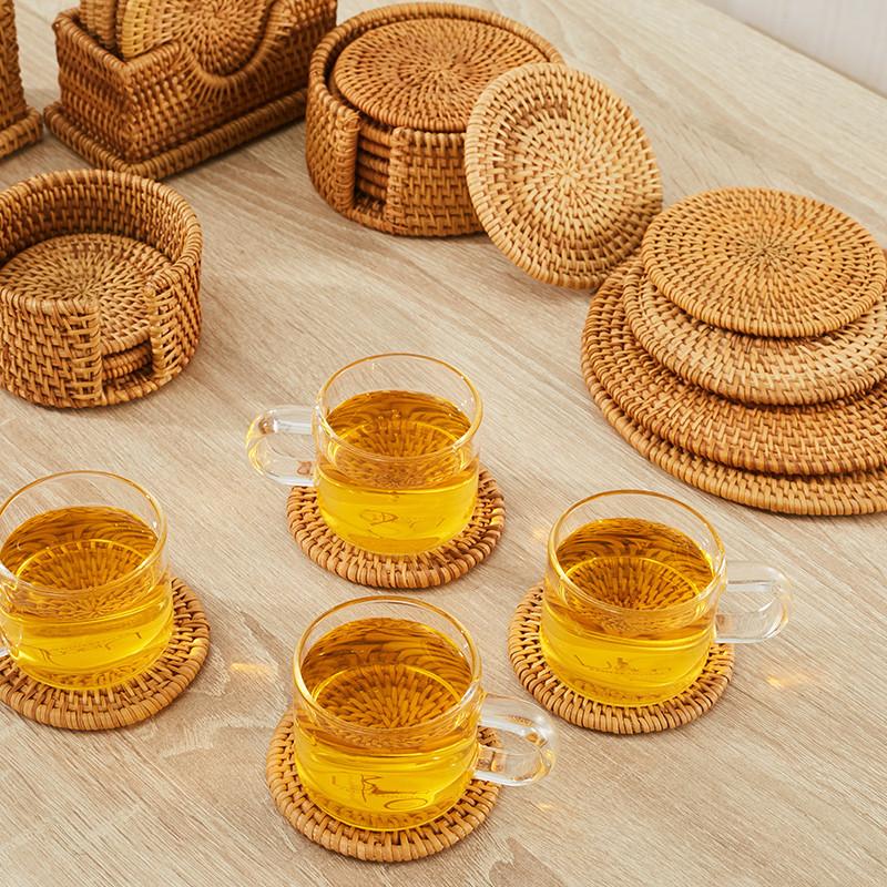 senseyo杯垫手工编织越南藤编杯垫餐桌盘子隔热垫碗垫茶壶垫餐垫茶道