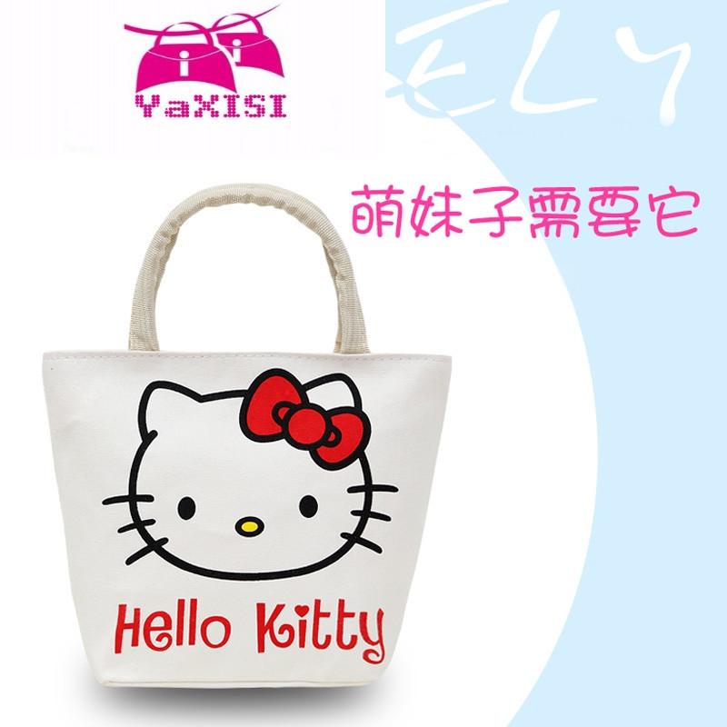 新款卡通帆布包小手提包女士韩版休闲环保购物袋布兜可爱百搭包包_1