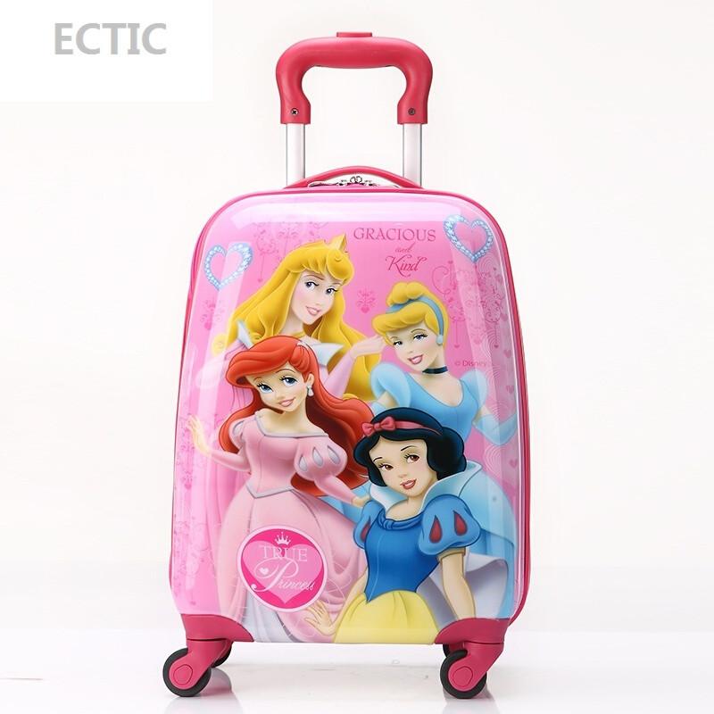 ectic儿童拉杆箱包小孩旅行箱皮箱可爱卡通学生行李箱18寸拖箱女公主