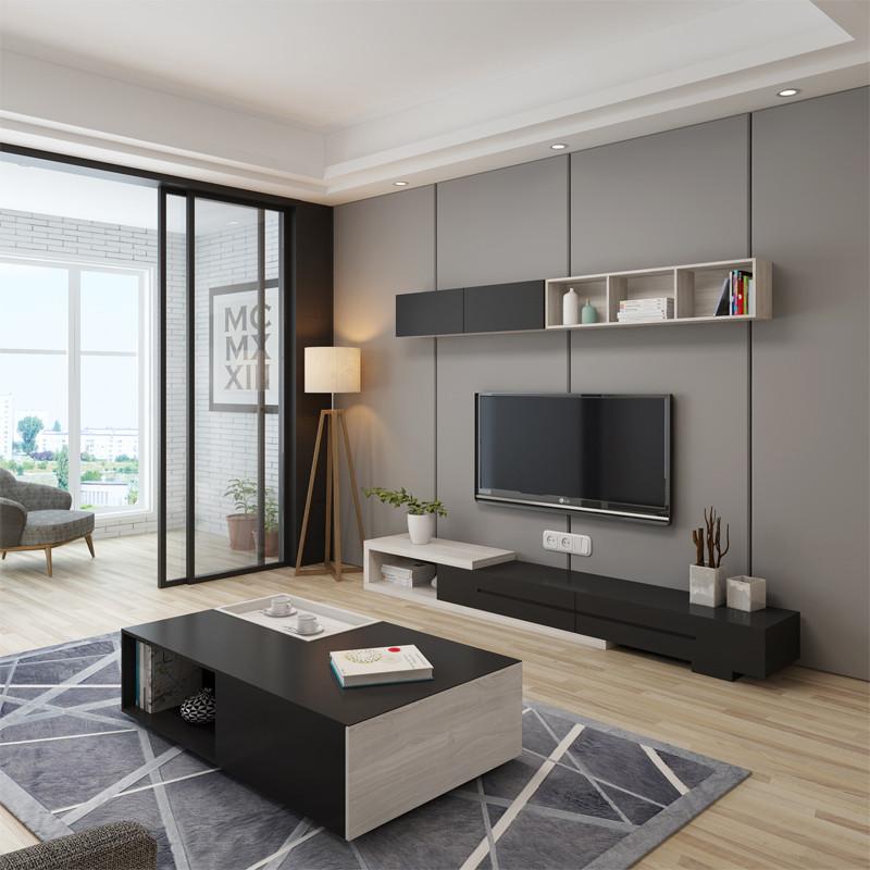 北欧电视墙上储物柜橡木壁柜现代简约吊柜创意挂柜客厅置物架 橡木色