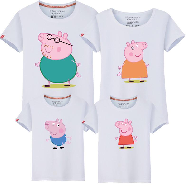 110新款亲子装夏装短袖t恤一家三口全家装春装幼儿园运动会活动衣服