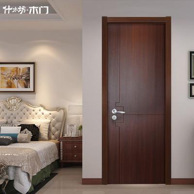 什木坊定制生态免漆室内门套装门实木复合静音木门卧室门现代简约 黑