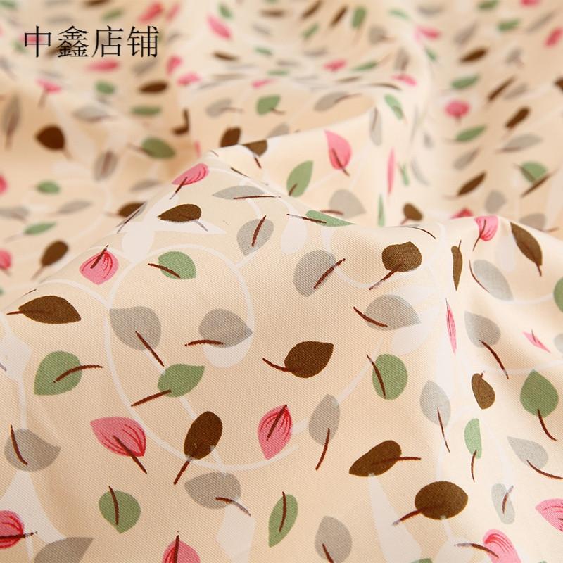 田园树叶斜纹布料床品面料床上用品床单被套手工diy1.