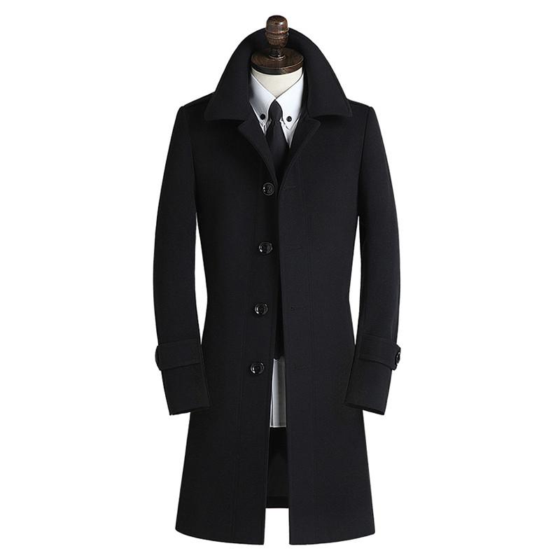冬季羊絨呢子毛呢大衣男士中長款韓版修身英倫風商務風衣外套 3xl圖片