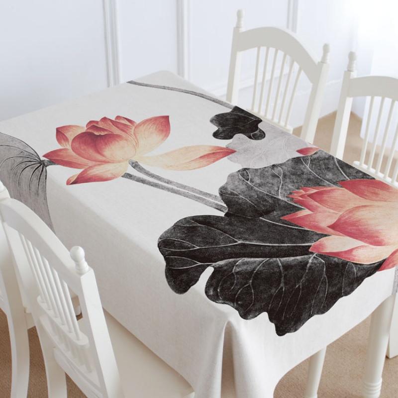 中国风新中式红木家具配套桌布棉麻盖布桌布台布茶几布玉兰图_1 100*
