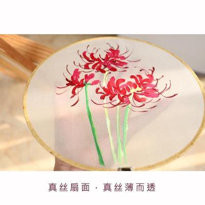 新款特价古风彼岸花曼珠沙华纯手绘真丝团扇圆扇宫扇中国风工艺品扇子