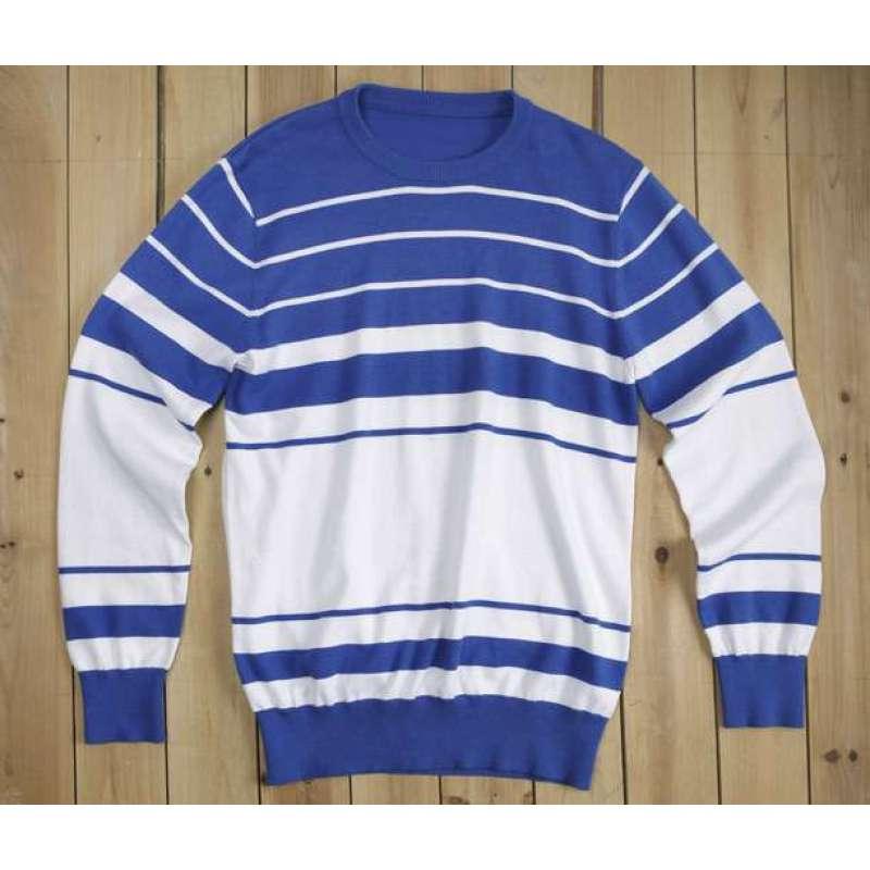 olomo欧莱诺海洋风条纹圆领针织衫(蓝白条男l)【报价