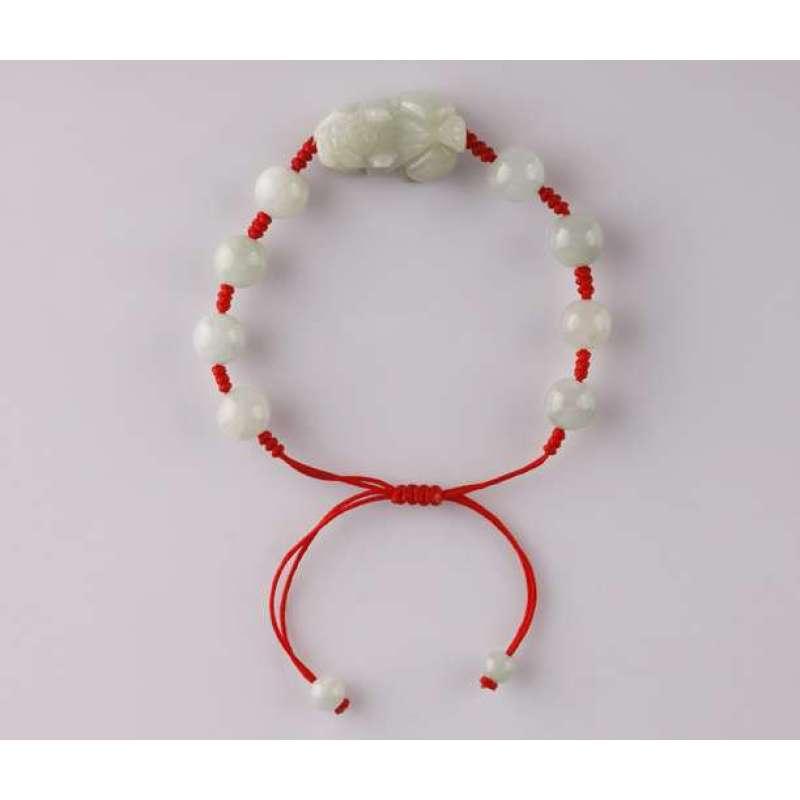 悦人天然a货翡翠编绳貔貅手链(红绳)图片