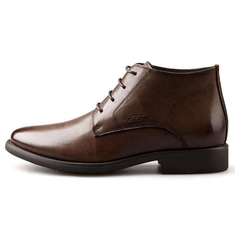 ceen策恩 维京人-吉普男士冬季皮靴复古高帮中统英伦皮鞋x0063(咖啡