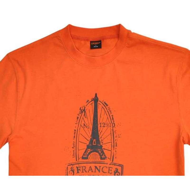 蓝橙亲肤棉t恤男款埃菲尔铁塔me6156e橘红色xl