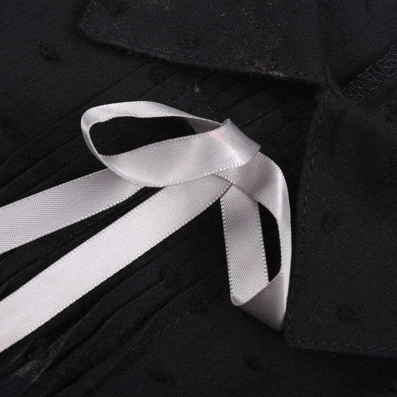 女装原价129韩版点点荷叶花边翻领蝴蝶结短袖