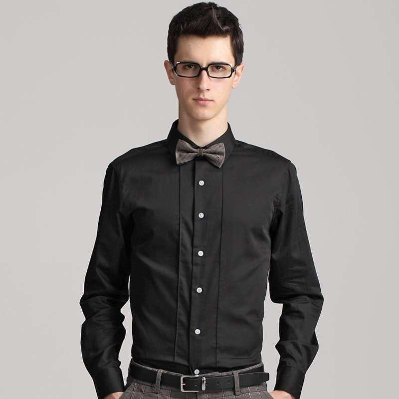 gxg 男士时尚简约英伦风休闲长袖衬衫#03103116 黑色