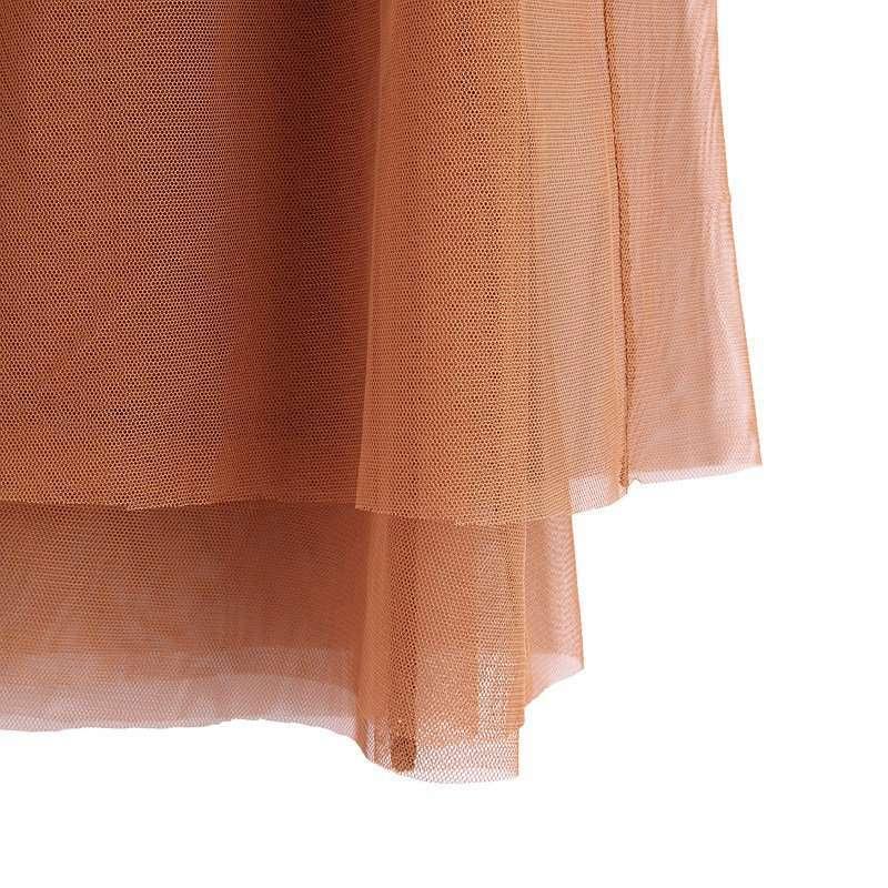 多层网纱半裙 深驼色