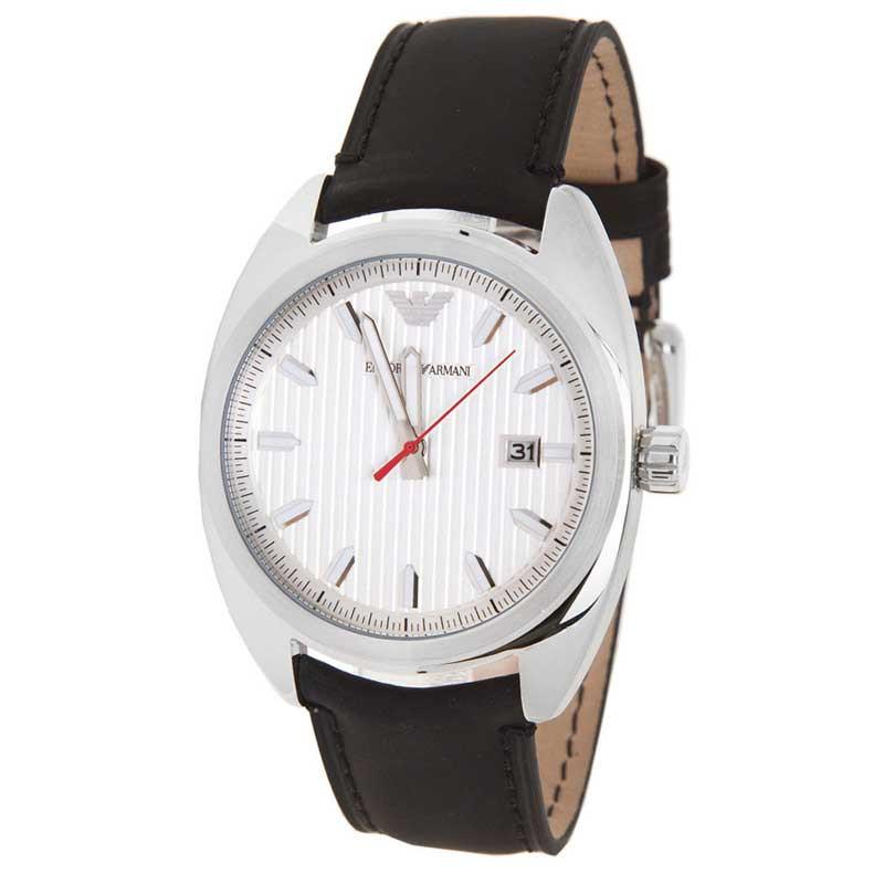 armani优雅皮质日期窗口夜光指针银色盘男士手表