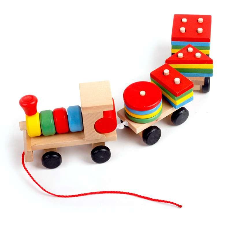 形状拼接小火车拖拉玩具图片