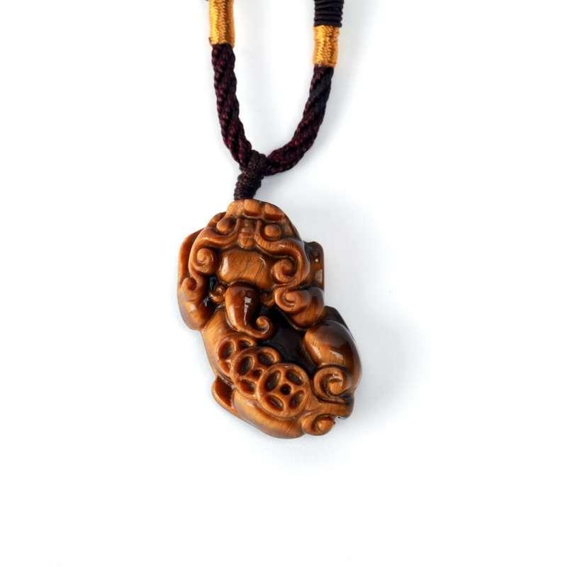 钟表/珠宝/礼品 首饰 吊坠/项链 万石如艺 天然黄虎目石招财转运貔貅