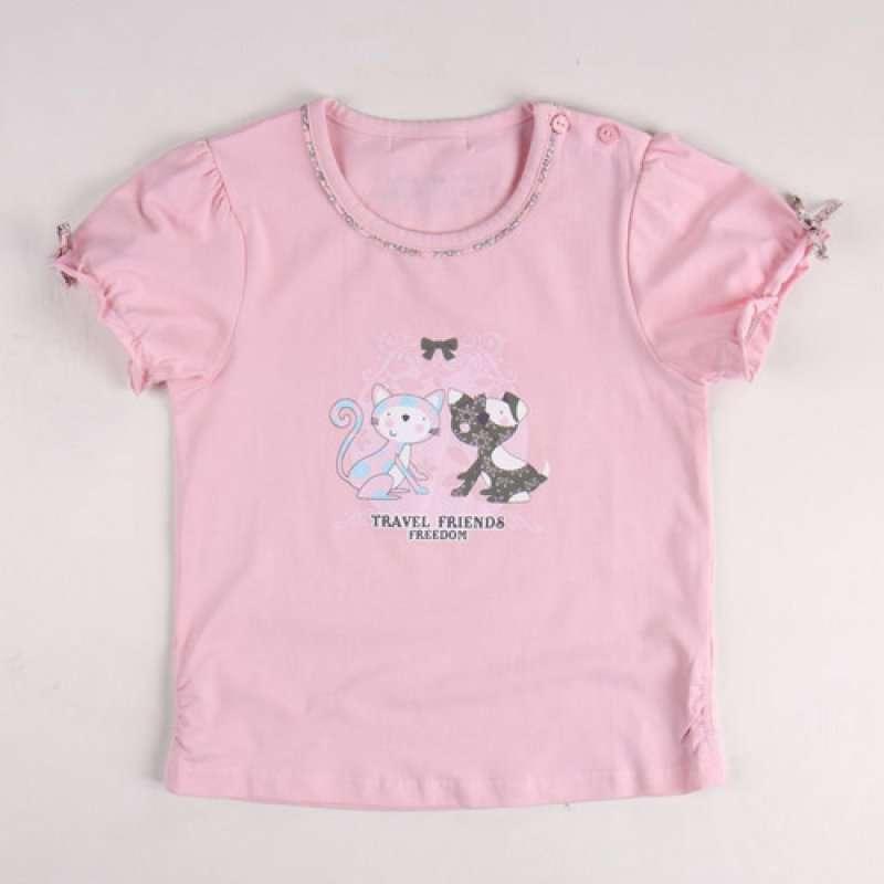 皇家宝贝女童时尚可爱小猫咪短袖t恤322120213粉红/90