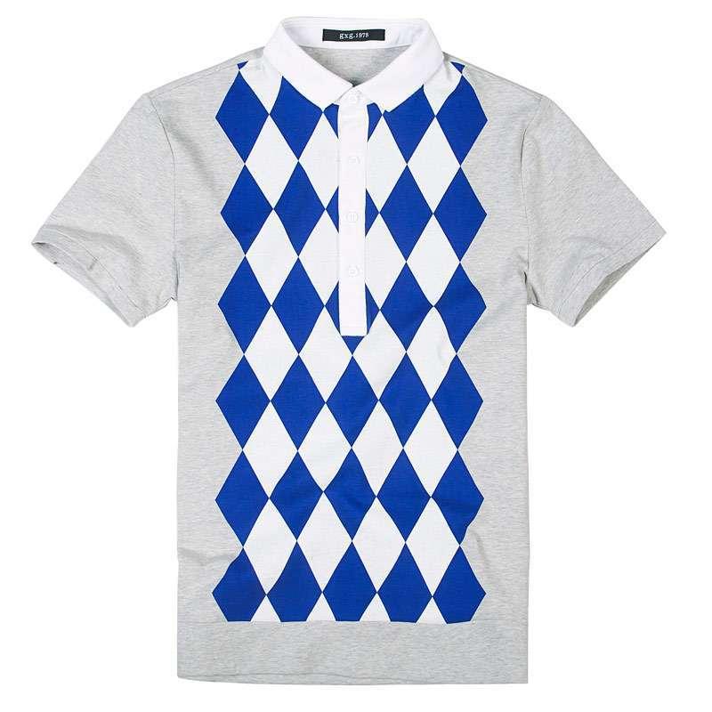 男士英伦风格潮流时尚菱形格polo领t恤