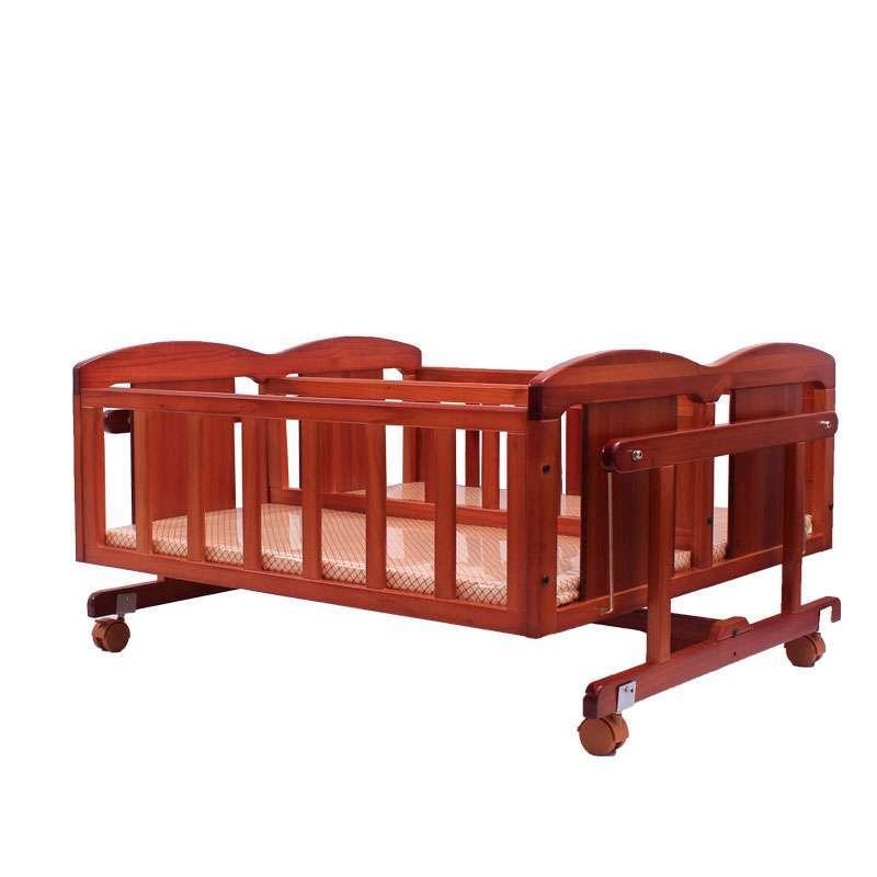 小硕士实木婴儿床双胞胎床送摇篮蚊帐帐hb999图片