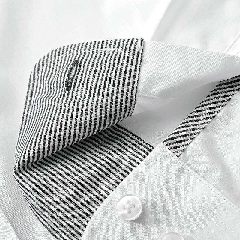 亚狮龙男士高档商务纯白色男士衬衫排汗透气3211003