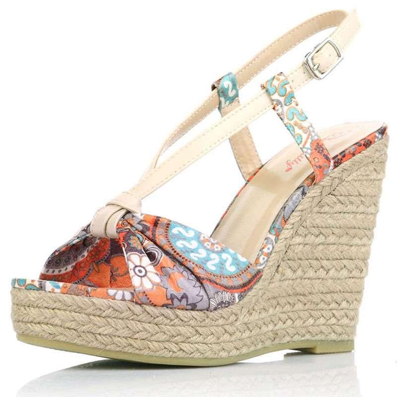 caerphilly卡芙琳夏拼接花纹松糕坡跟女鞋系扣凉鞋cl1011-5 桔色3.