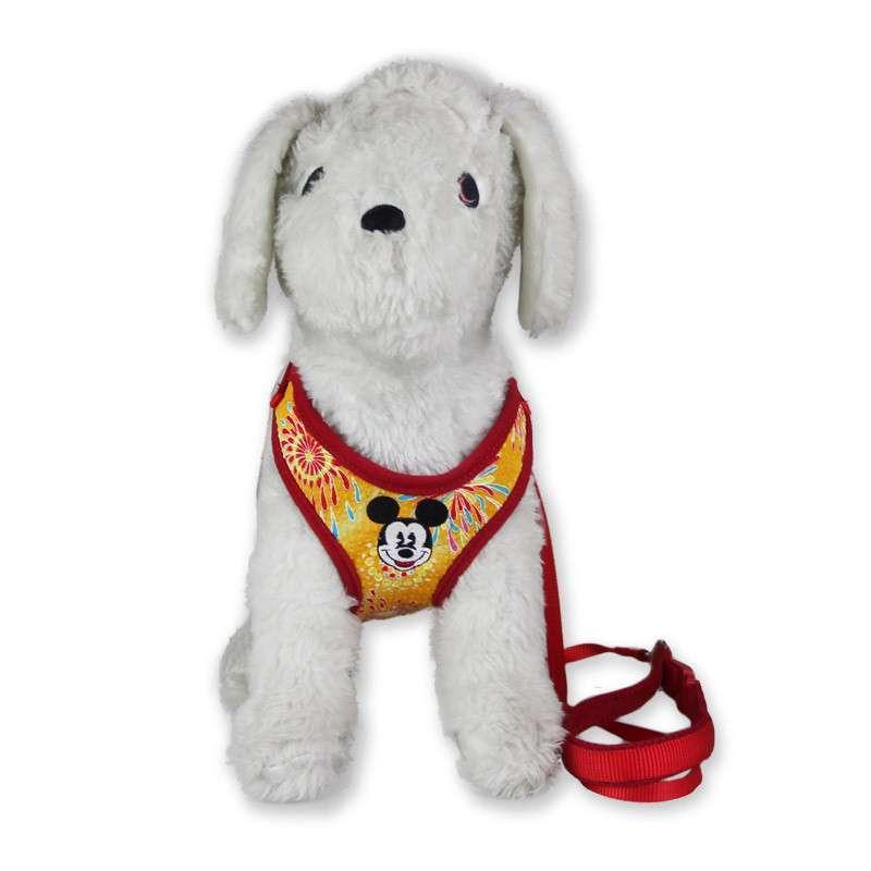红色卡通图案宠物胸背带小号xs 贵宾泰迪狗用牵引绳 狗链猫绳