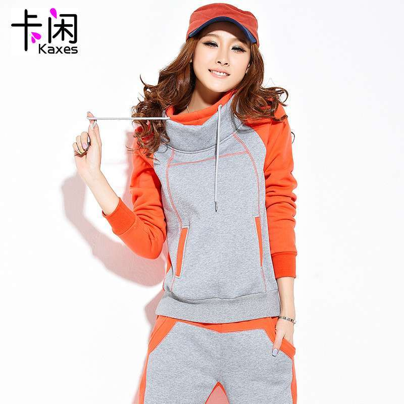 2013新款冬季加厚加绒运动套装 女装运动服修身卫衣 两件套显瘦休闲