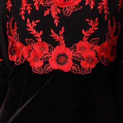 刺绣妈妈装连衣裙 金丝绒长袖连衣裙 黑底红色花 x.