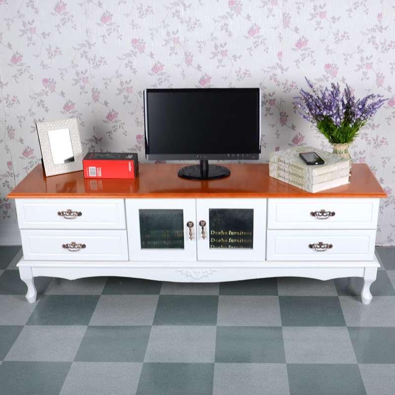 理佳木业白色简约欧式实木电视柜/简易矮柜地柜/客厅