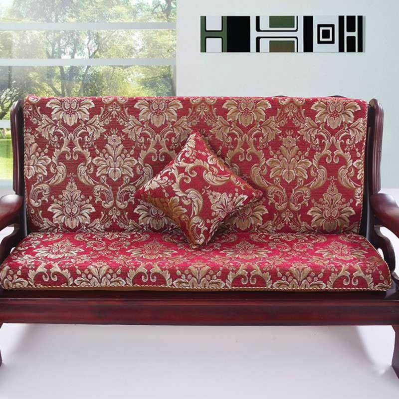 三只松鼠 实木沙发垫 海绵沙发垫 雪尼尔沙发垫子 150x50cm