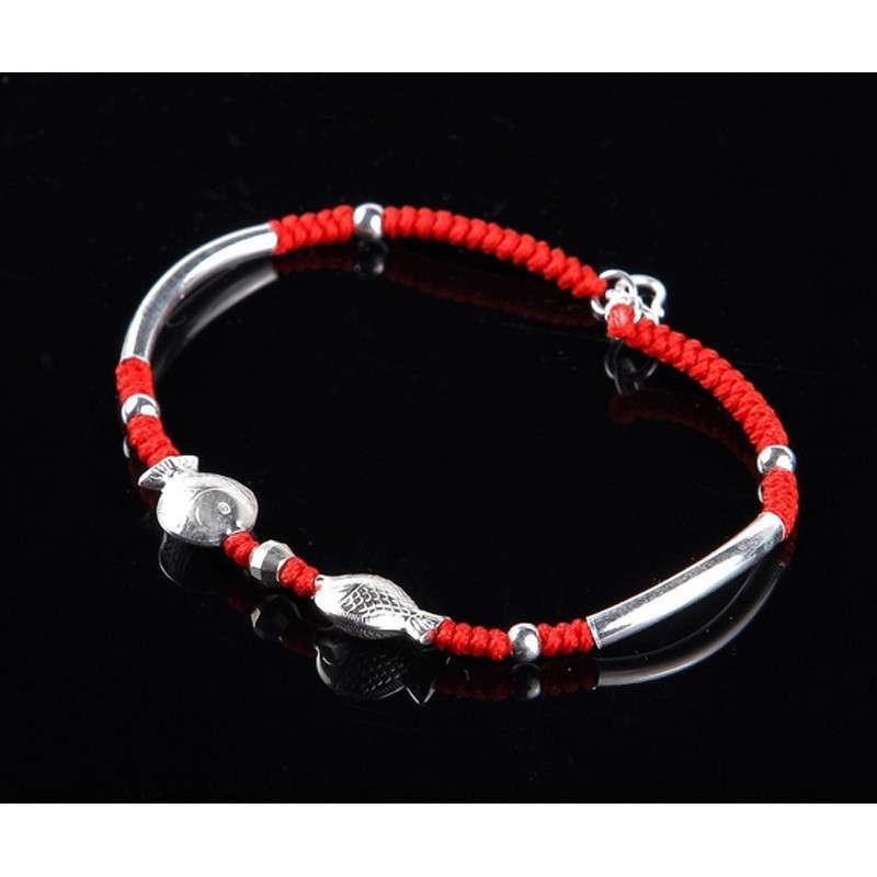 悦人手工编织银珠手链(双鱼戏珠)图片