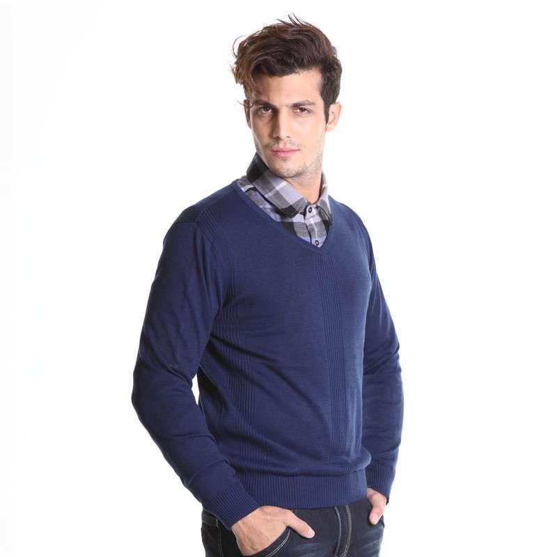男毛衣 新款时尚男士针织v领针织衫 男士针织长袖 12700100101 藏青 m