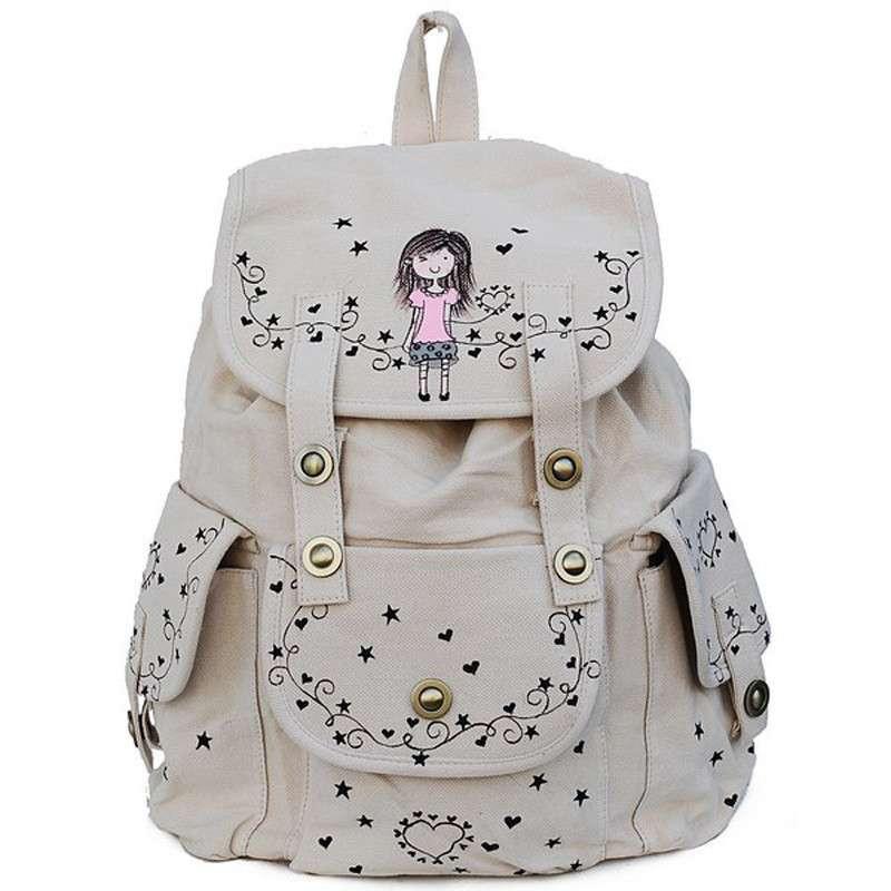 手绘韩版可爱女孩双肩包时尚百搭休闲背包