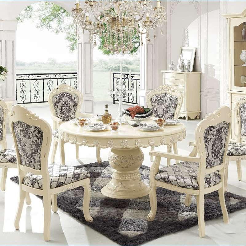 巴黎时光 餐桌 圆桌 实木 雕花描银 欧式 czl070