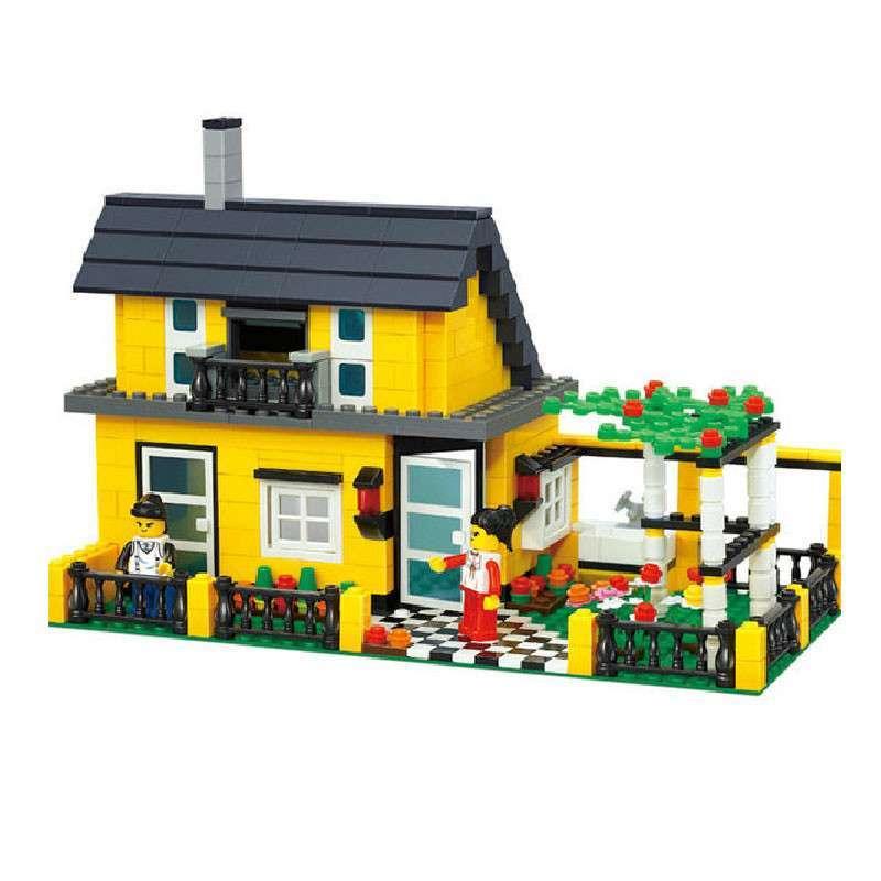 万格乐高式花园别墅 3d拼装积木 儿童益智拼插玩具 (商品编号:1050227