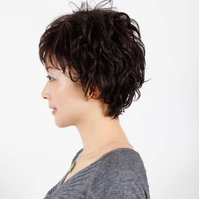 玫瑰雨 雅气质蓬松小碎卷 中老年发型 女士假发短发女