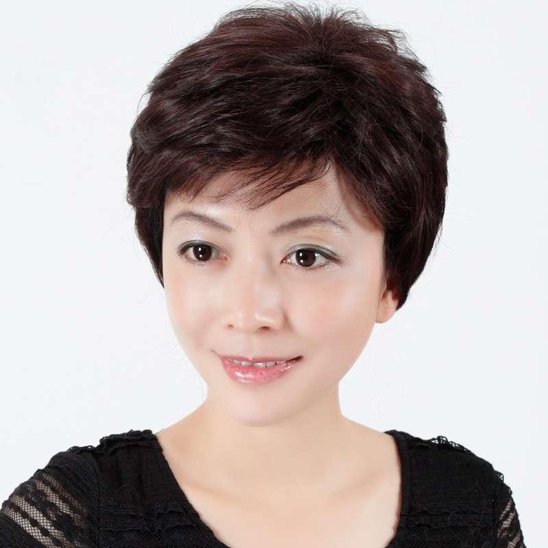 新款 玫瑰雨 时尚妈妈中老年女士假发 短发女卷发 微卷蓬松假发套图片