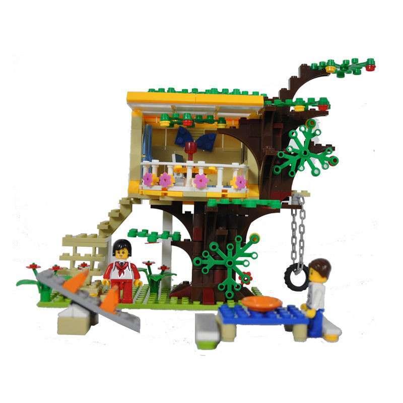 万格乐高式益智拼装积木 城市树屋 儿童益智玩具图片