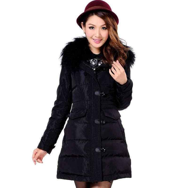 2013新款冰洁羽绒服女试纸时尚毛领正品搭扣修身中长款j1301166一测安半定量气质图片
