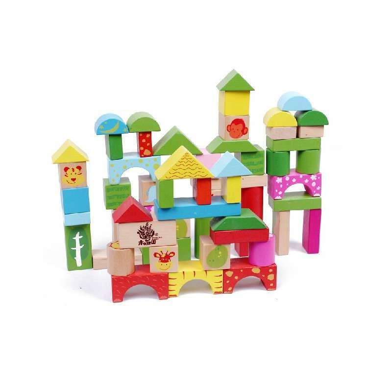 夏乐 动物森林儿童积木玩具木制大块桶装积木木质益智