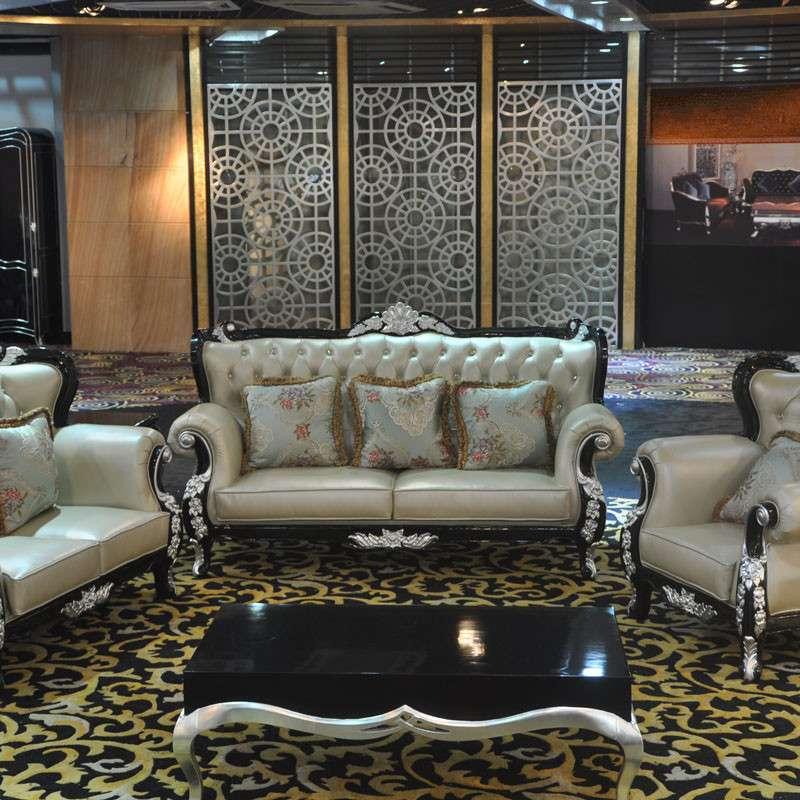 欧式新古典黑色贴银箔高档真皮沙发组合酒店别墅客厅