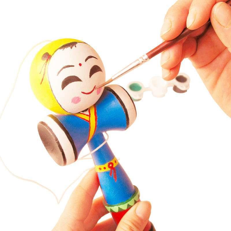 原木接球diy手绘材料包 传统儿童涂鸦剑球技巧玩具(含