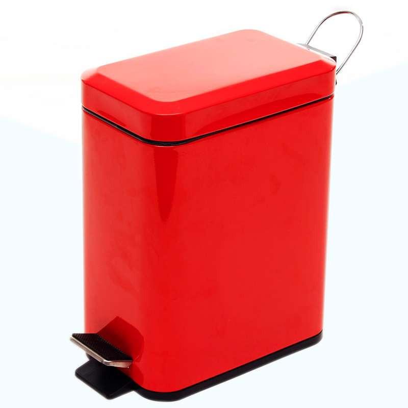 欧润哲长方形脚踏垃圾桶红色5L (商品编号:105121488)