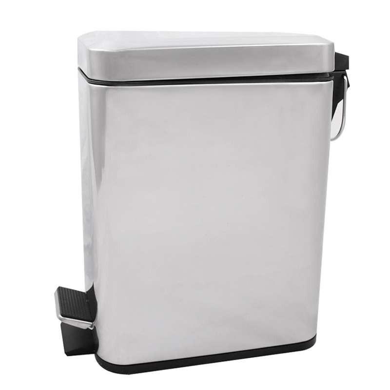 长方形不锈钢镜光脚踏垃圾桶5升图片