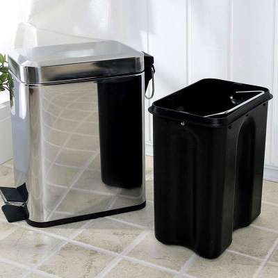 欧润哲 长方形不锈钢镜光脚踏垃圾桶5升 (商品编号:105121489)