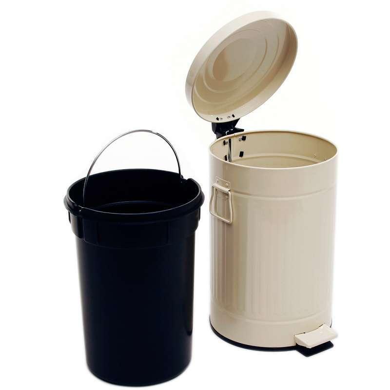踏翻盖垃圾桶象牙白12升