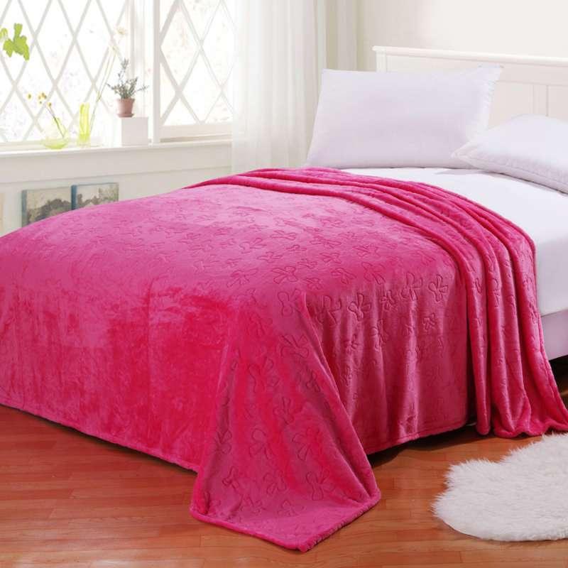 合雨家纺 毛毯 珊瑚绒毯子 冬季加厚法兰绒剪花床单 休闲毯 盖毯 玫